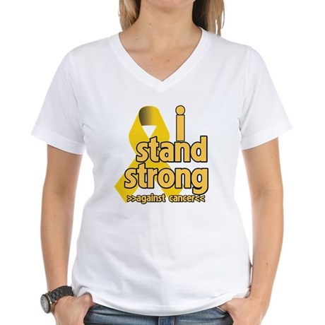 I Stand Childhood Cancer Women's V-Neck T-Shirt