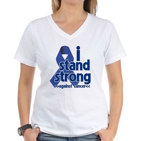 I Stand Colon Cancer Women's V-Neck T-Shirt