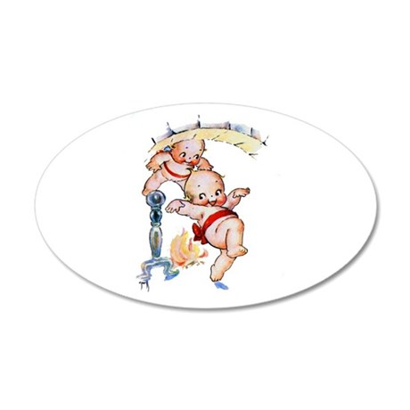 Kewpies Come Down the Chimne 20x12 Oval Wall Decal