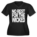 NO REST Women's Plus Size V-Neck Dark TEE