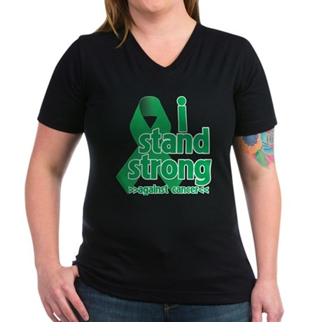 I Stand Liver Cancer Women's V-Neck Dark T-Shirt