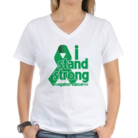 I Stand Liver Cancer Women's V-Neck T-Shirt