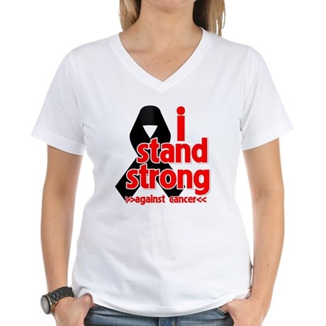 I Stand Strong Melanoma Women's V-Neck T-Shirt