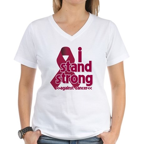 I Stand Multiple Myeloma Women's V-Neck T-Shirt