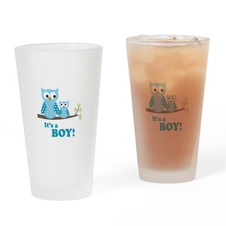 Blue Hoot Owls Drinking Glass