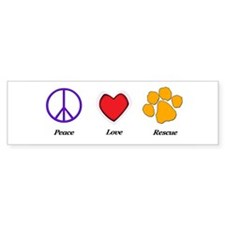 Peace Love Rescue Bumper Bumper Sticker
