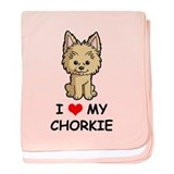 I Love My Chorkie baby blanket