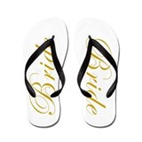 BRIDE in Golden Script Wedding Flip Flops