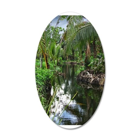 Peaceful Forest Stream 38.5 x 24.5 Oval Wall Peel