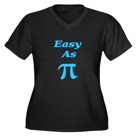 Easy As Pi Women's Plus Size V-Neck Dark T-Shirt