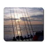 Beach Sunset Fishing Poles Mousepad