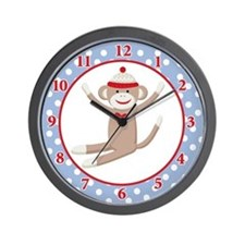 Sock Monkeys Wall Clock (Blue/Denim)
