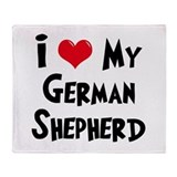 I Love My German Shepherd Throw Blanket