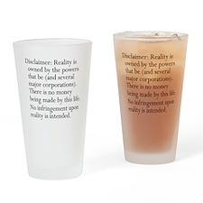 Standard Disclaimer Drinking Glass