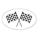 Checkered Flags Oval Bumper Stickers