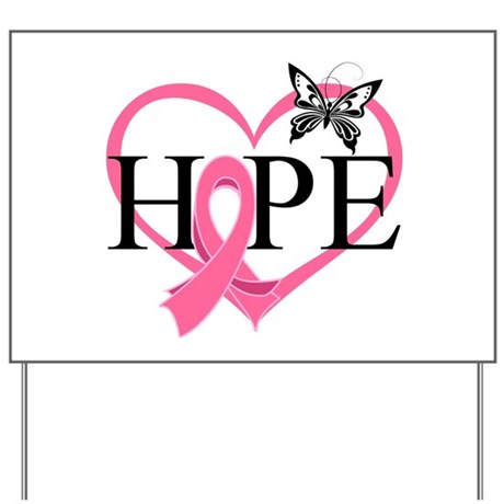 Breast Cancer Heart Decor Yard Sign