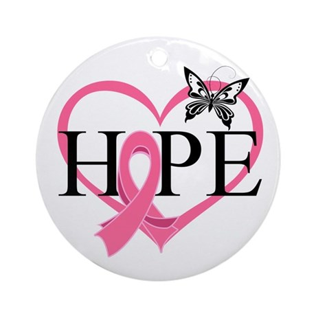 Breast Cancer Heart Decor Ornament (Round)