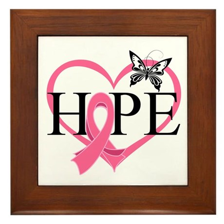 Breast Cancer Heart Decor Framed Tile