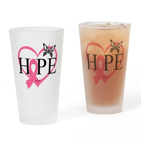 Breast Cancer Heart Decor Drinking Glass