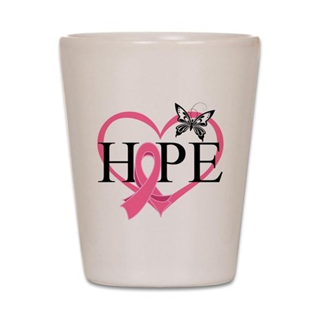 Breast Cancer Heart Decor Shot Glass