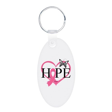 Breast Cancer Heart Decor Aluminum Oval Keychain