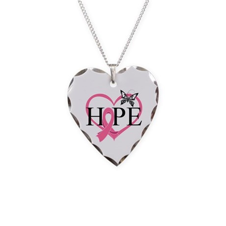 Breast Cancer Heart Decor Necklace Heart Charm