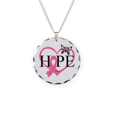 Breast Cancer Heart Decor Necklace Circle Charm