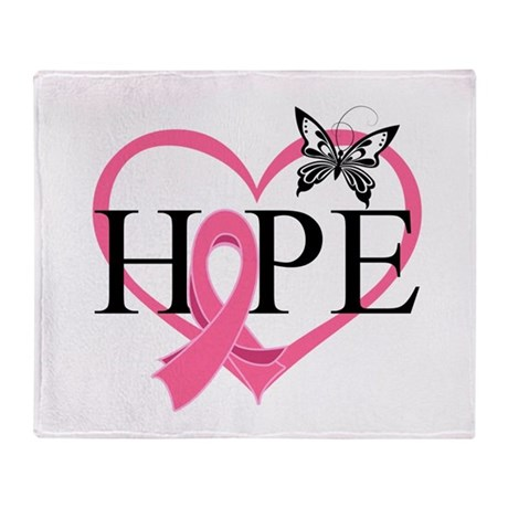 Breast Cancer Heart Decor Throw Blanket