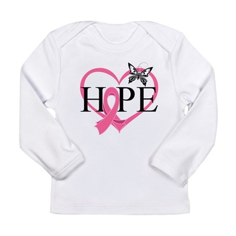 Breast Cancer Heart Decor Long Sleeve Infant T-Shi