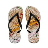 Hand Knit Variegated Yarn Flip Flops