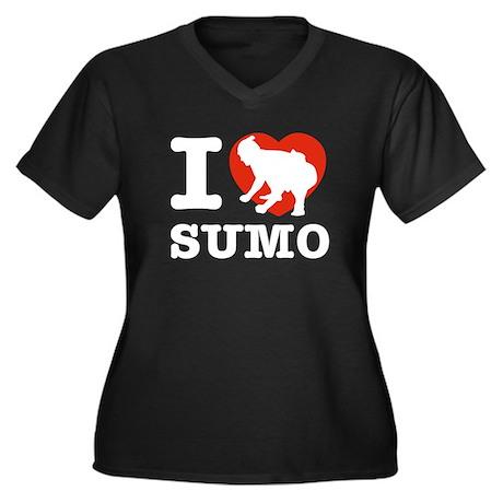 I love Sumo Women's Plus Size V-Neck Dark T-Shirt