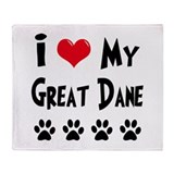 I Love My Great Dane Throw Blanket