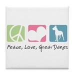 Peace, Love, Great Danes Tile Coaster