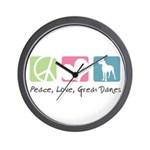 Peace, Love, Great Danes Wall Clock