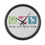 Peace, Love, Great Danes Large Wall Clock