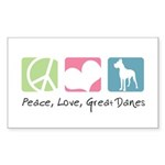 Peace, Love, Great Danes Sticker (Rectangle 10 pk)