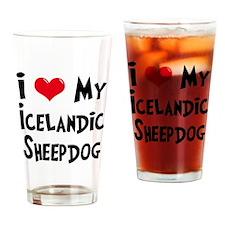 I Love My Icelandic Sheepdog Drinking Glass