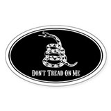 Don't Tread On Me - BLACK - Oval Decal