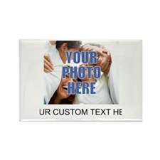 Custom Photo and Text Rectangle Magnet