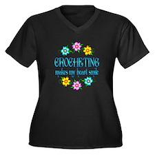 Crocheting Smiles Women's Plus Size V-Neck Dark T-