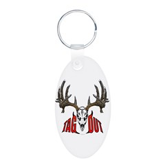 Whitetail Deer,Tag out Aluminum Oval Keychain