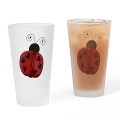Cute Red Ladybug Drinking Glass
