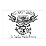USN Navy Seal Skull Black and White Postcards (Pac