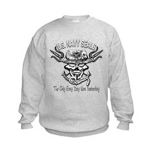 USN Navy Seal Skull Black and White Sweatshirt