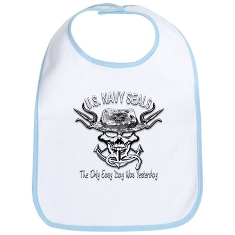 USN Navy Seal Skull Black and White Bib