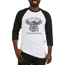 USN Navy Seal Skull Black and White Baseball Jerse