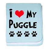 I Love My Puggle baby blanket