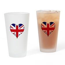 British Flag Heart Drinking Glass
