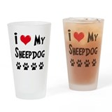 I Love My Sheepdog Drinking Glass