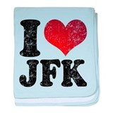 I heart JFK baby blanket